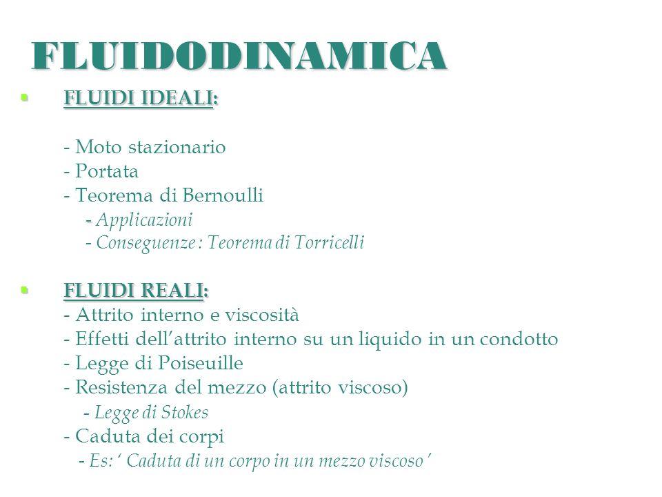 FLUIDODINAMICA FLUIDI IDEALI: - Moto stazionario - Portata