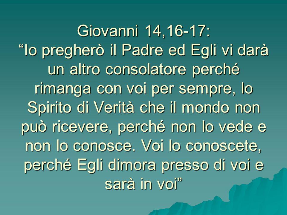 Giovanni 14,16-17: Io pregherò il Padre ed Egli vi darà un altro consolatore perché rimanga con voi per sempre, lo Spirito di Verità che il mondo non può ricevere, perché non lo vede e non lo conosce.