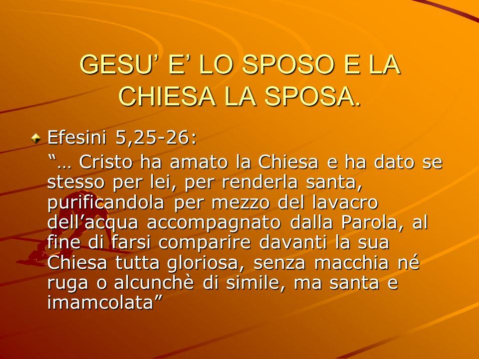 GESU' E' LO SPOSO E LA CHIESA LA SPOSA.