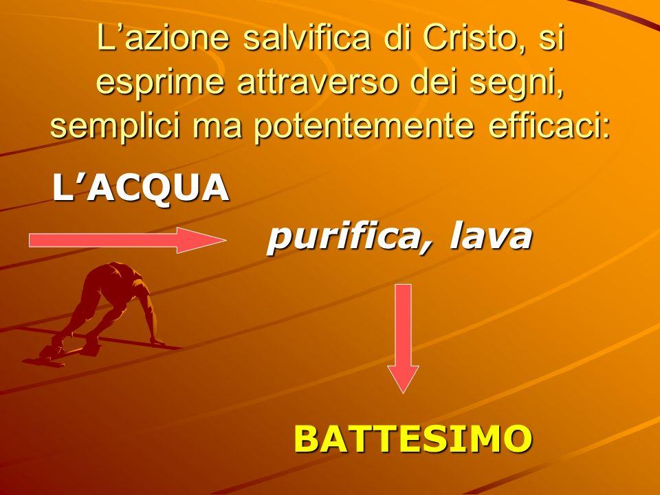 L'azione salvifica di Cristo, si esprime attraverso dei segni, semplici ma potentemente efficaci: