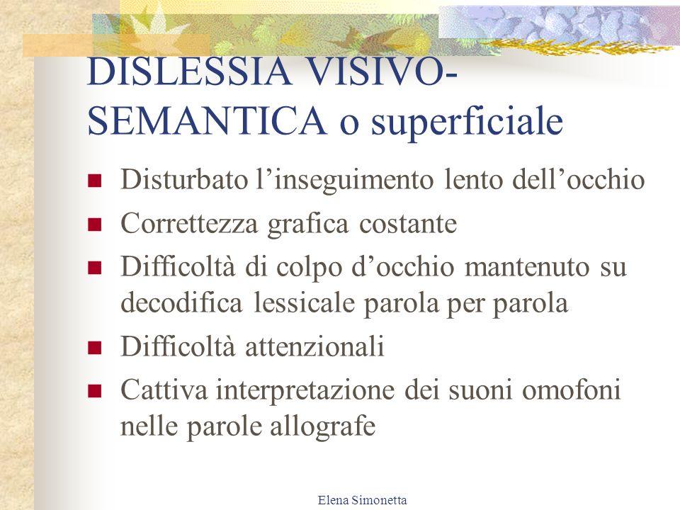 DISLESSIA VISIVO-SEMANTICA o superficiale