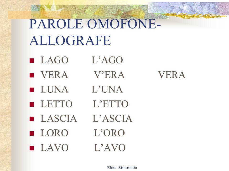 PAROLE OMOFONE-ALLOGRAFE