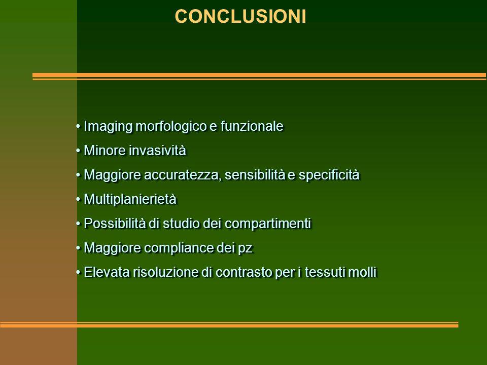 CONCLUSIONI Imaging morfologico e funzionale Minore invasività