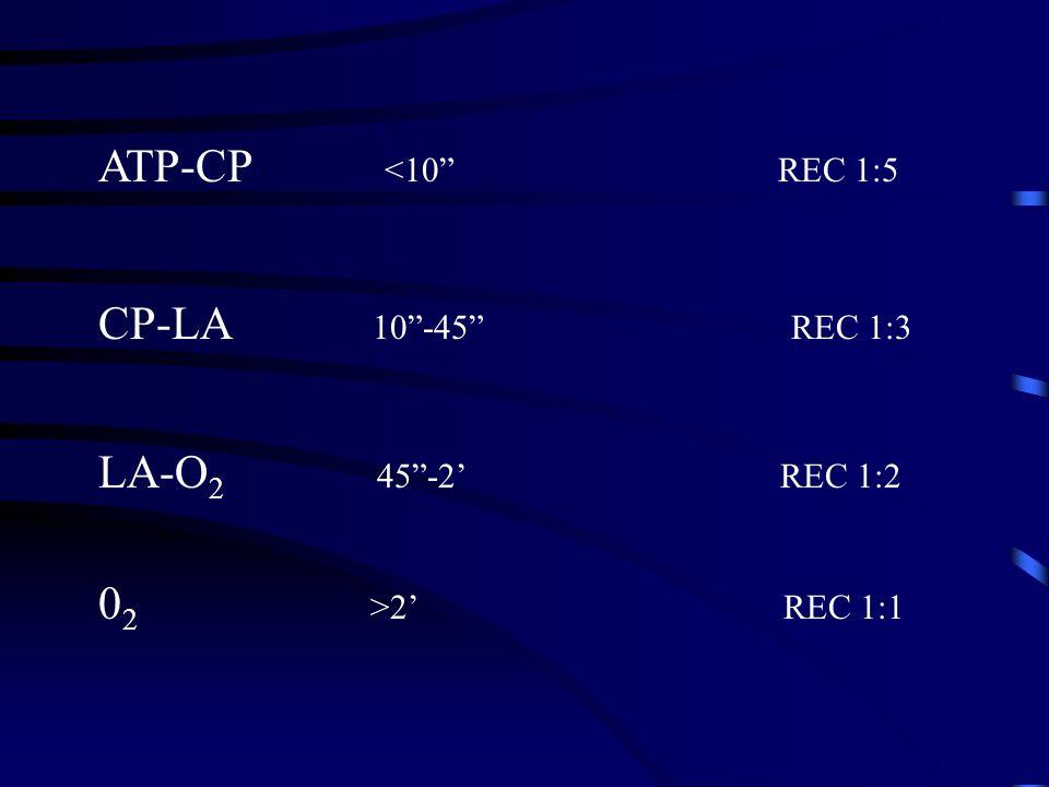 ATP-CP <10 REC 1:5 CP-LA 10 -45 REC 1:3.