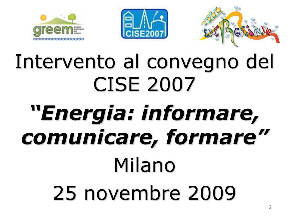 Energia: informare, comunicare, formare