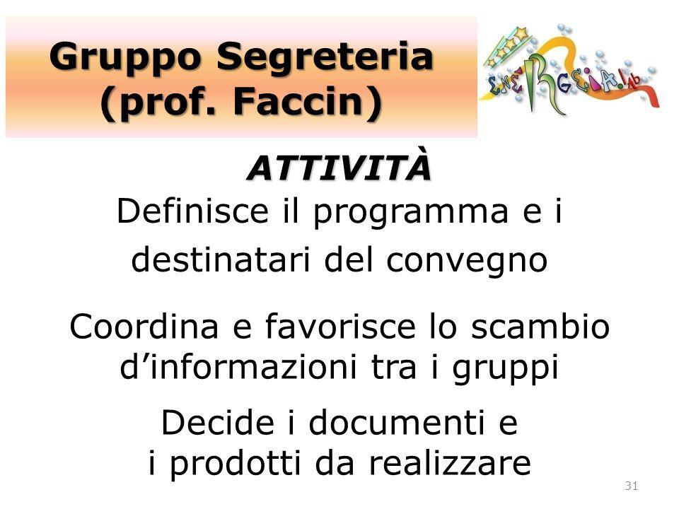 Gruppo Segreteria (prof. Faccin)