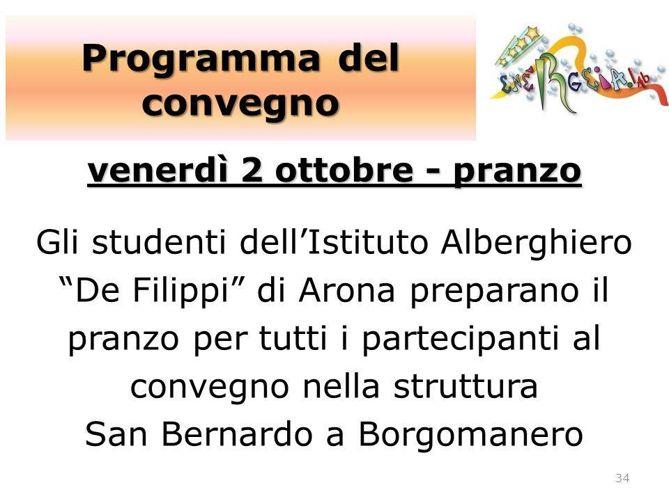 Programma del convegno venerdì 2 ottobre - pranzo