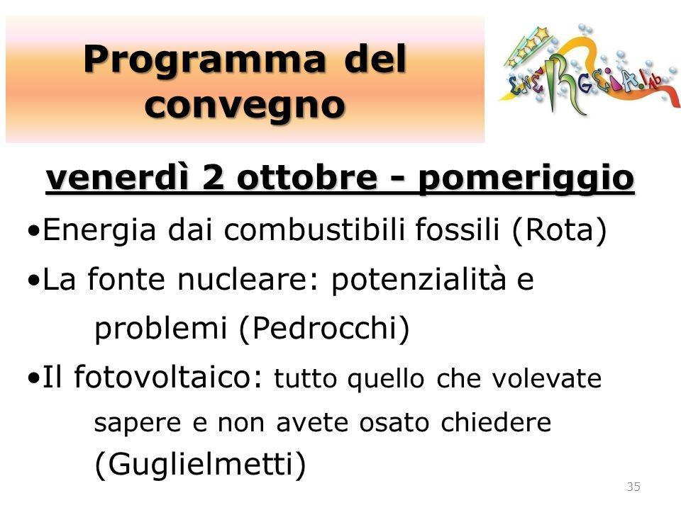 Programma del convegno venerdì 2 ottobre - pomeriggio