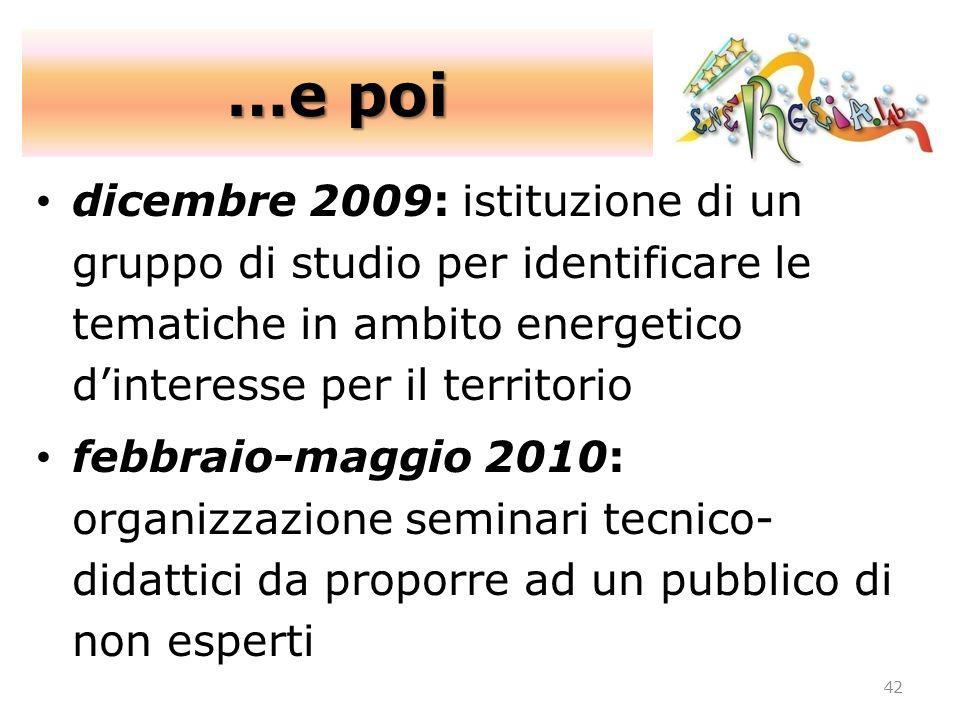 …e poi dicembre 2009: istituzione di un gruppo di studio per identificare le tematiche in ambito energetico d'interesse per il territorio.