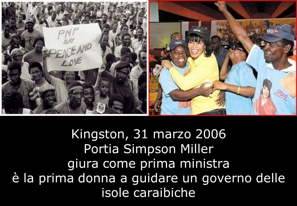 Kingston, 31 marzo 2006 Portia Simpson Miller giura come prima ministra è la prima donna a guidare un governo delle isole caraibiche