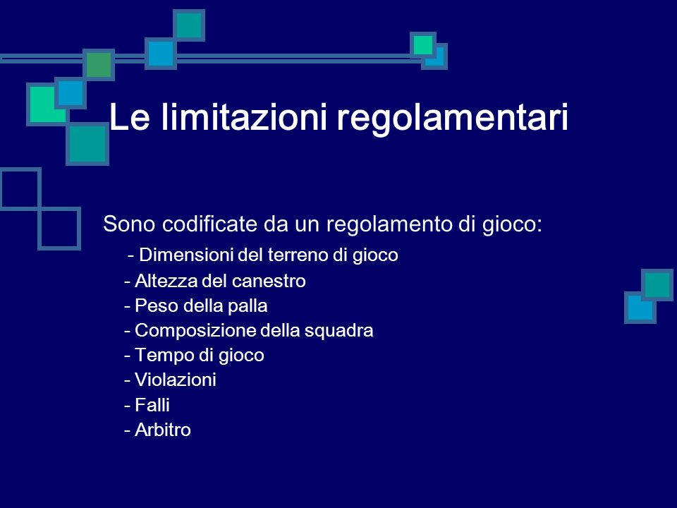 Le limitazioni regolamentari
