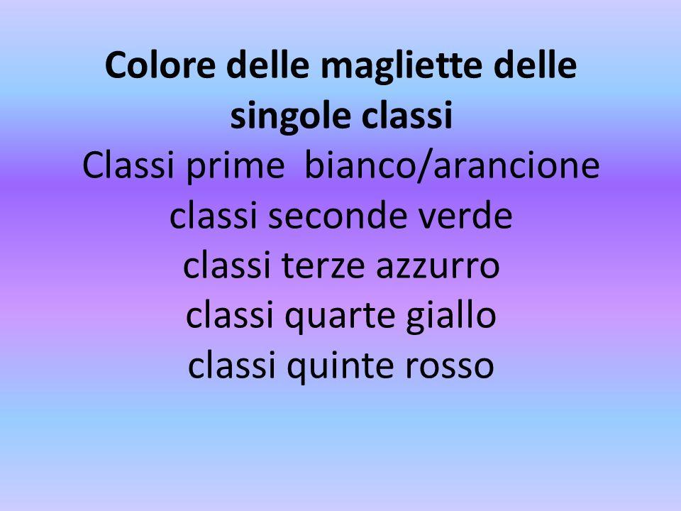 Colore delle magliette delle singole classi Classi prime bianco/arancione classi seconde verde classi terze azzurro classi quarte giallo classi quinte rosso