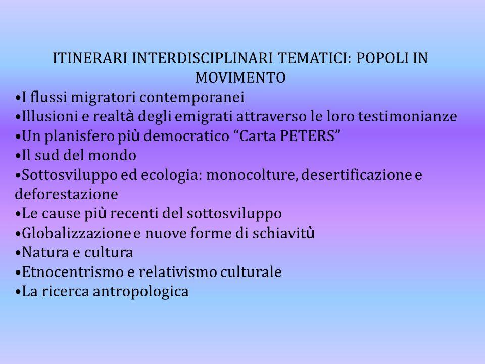 ITINERARI INTERDISCIPLINARI TEMATICI: POPOLI IN MOVIMENTO