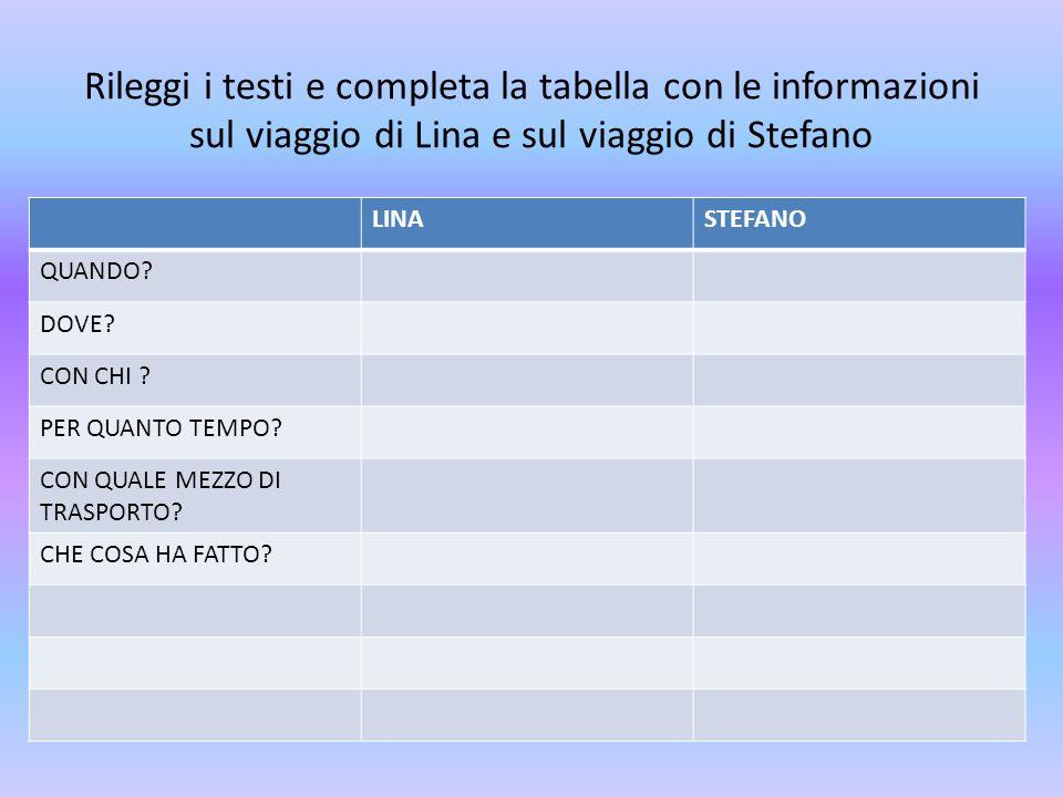 Rileggi i testi e completa la tabella con le informazioni sul viaggio di Lina e sul viaggio di Stefano