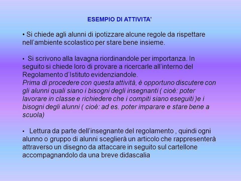 ESEMPIO DI ATTIVITA' Si chiede agli alunni di ipotizzare alcune regole da rispettare nell'ambiente scolastico per stare bene insieme.