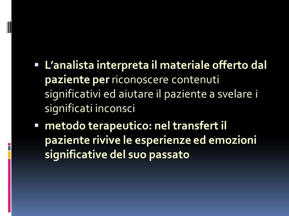 L'analista interpreta il materiale offerto dal paziente per riconoscere contenuti significativi ed aiutare il paziente a svelare i significati inconsci