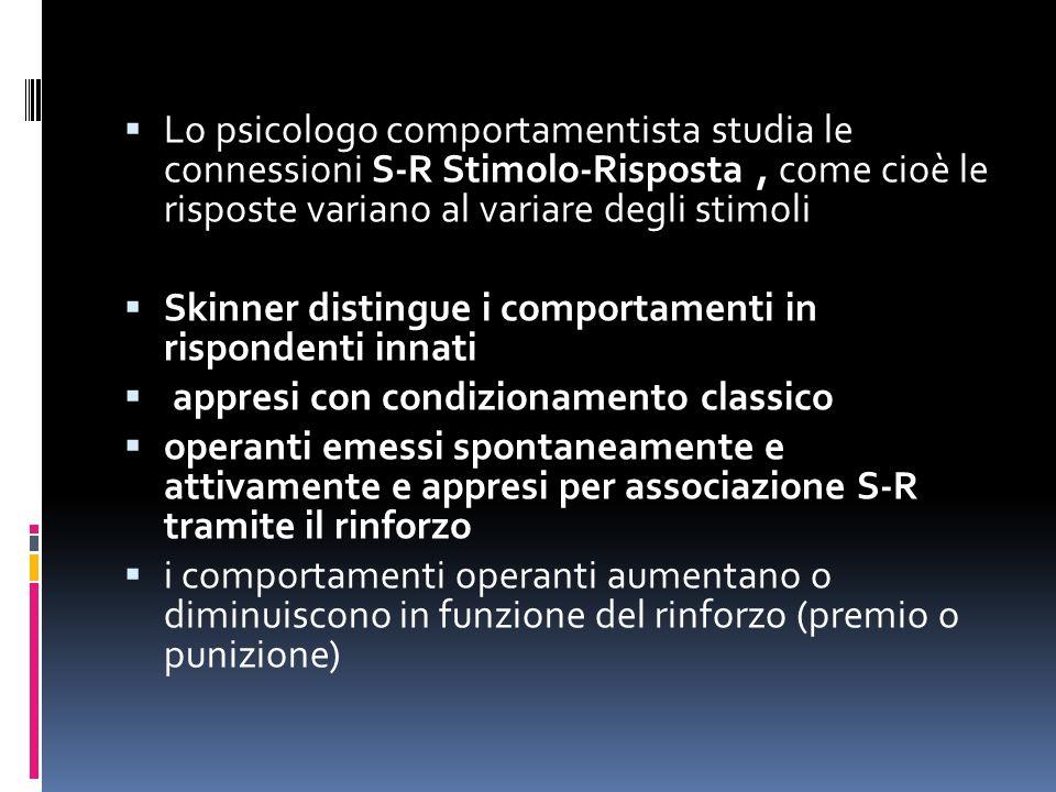Lo psicologo comportamentista studia le connessioni S-R Stimolo-Risposta , come cioè le risposte variano al variare degli stimoli