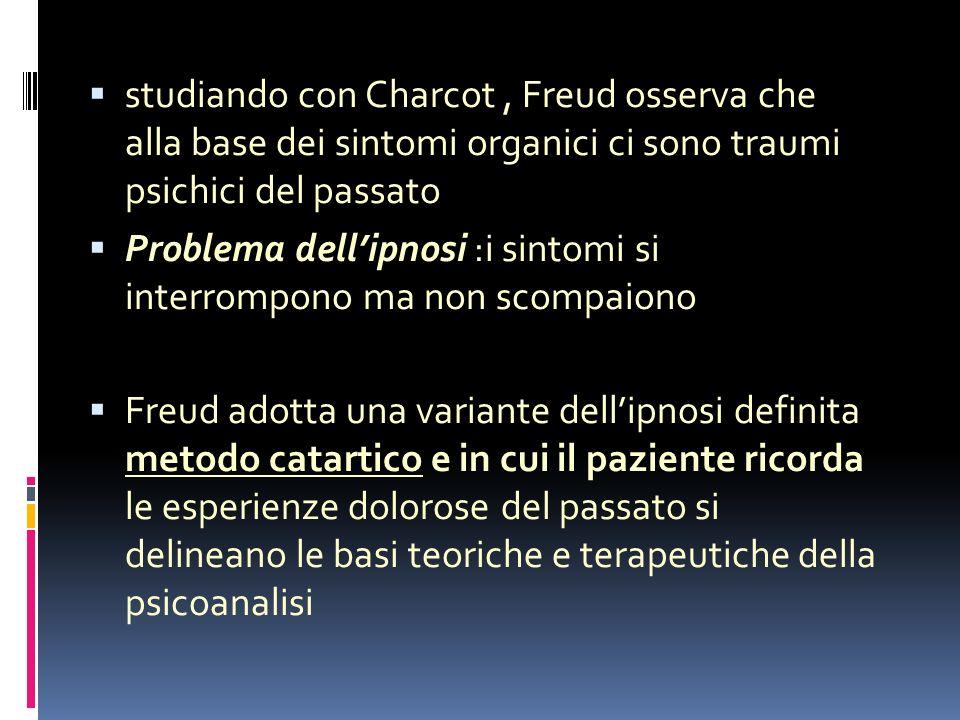 studiando con Charcot , Freud osserva che alla base dei sintomi organici ci sono traumi psichici del passato