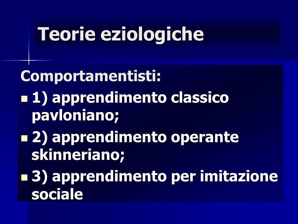 Teorie eziologiche Comportamentisti: