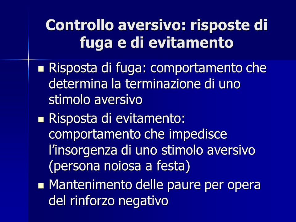 Controllo aversivo: risposte di fuga e di evitamento