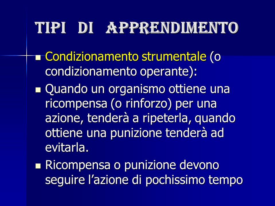 Tipi di apprendimento Condizionamento strumentale (o condizionamento operante):