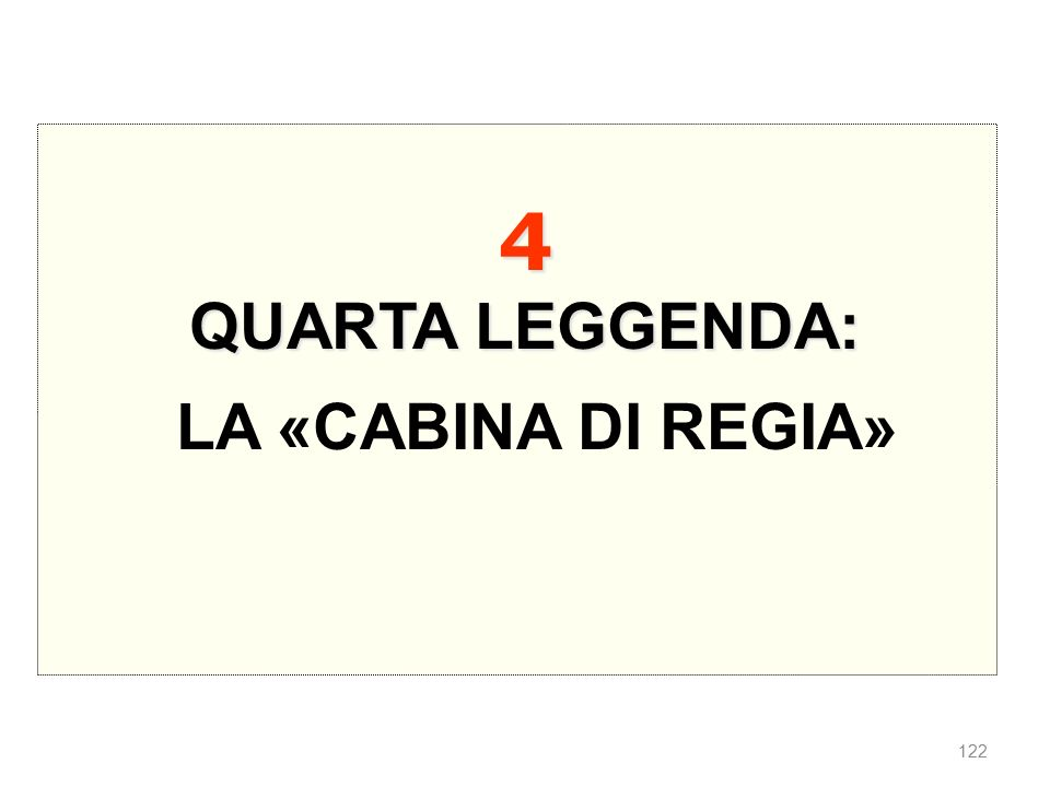 4 QUARTA LEGGENDA: LA «CABINA DI REGIA»