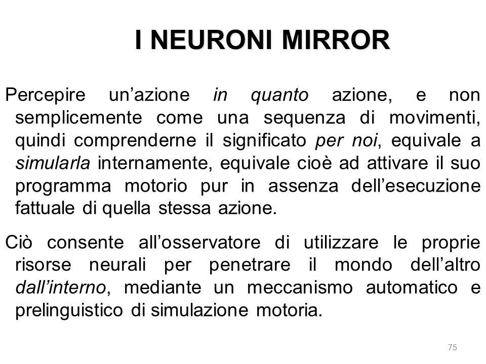 I NEURONI MIRROR