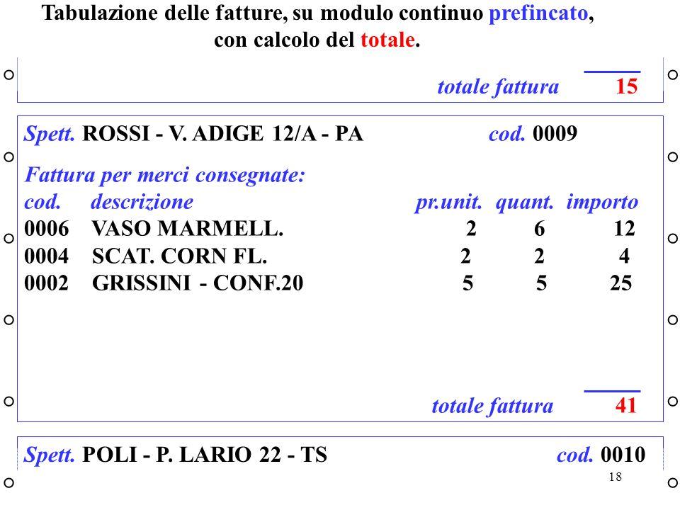 Tabulazione delle fatture, su modulo continuo prefincato, con calcolo del totale.