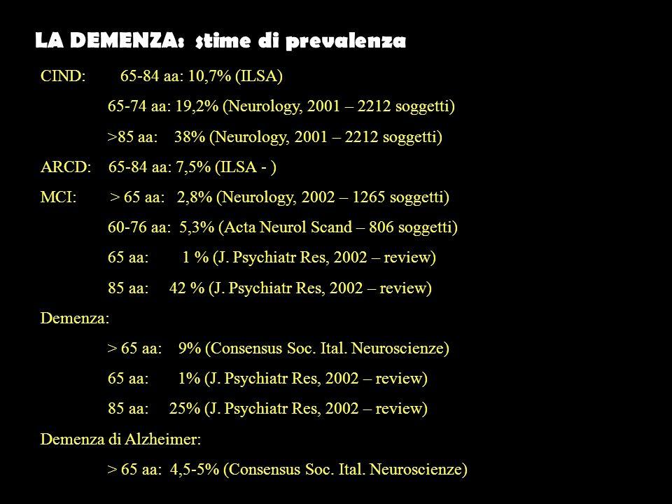 LA DEMENZA: stime di prevalenza