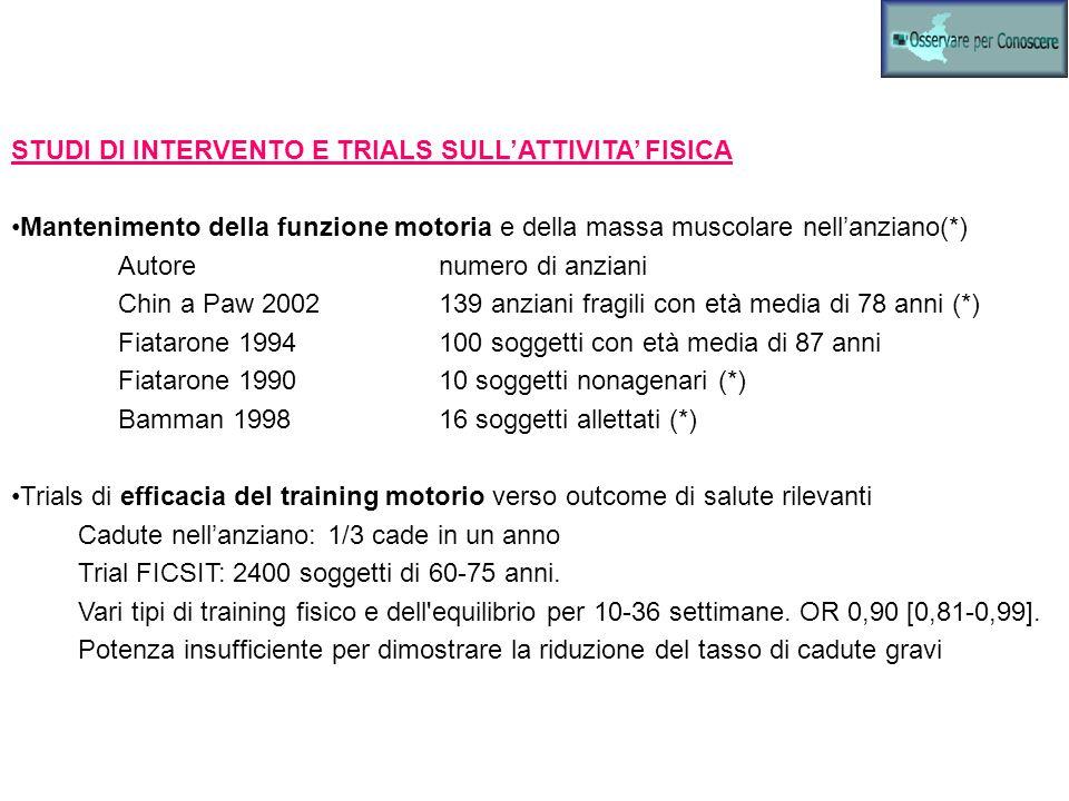 STUDI DI INTERVENTO E TRIALS SULL'ATTIVITA' FISICA
