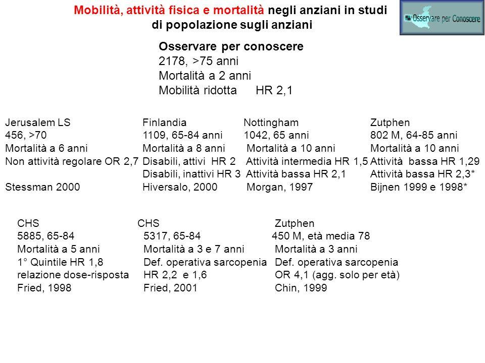 Mobilità, attività fisica e mortalità negli anziani in studi