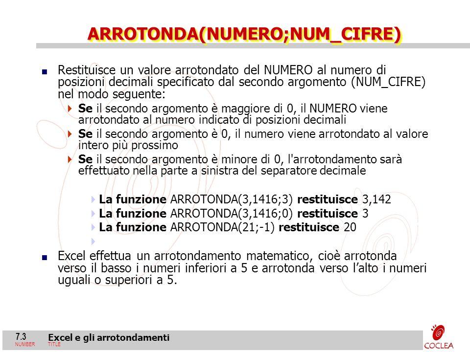 ARROTONDA(NUMERO;NUM_CIFRE)