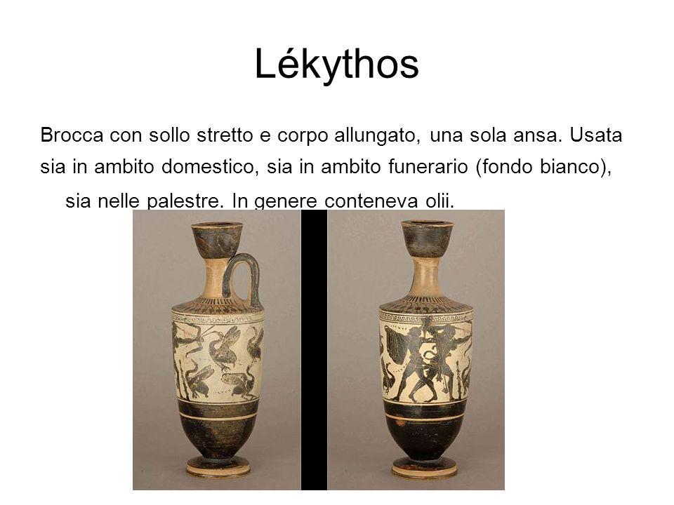 Lékythos Brocca con sollo stretto e corpo allungato, una sola ansa. Usata.