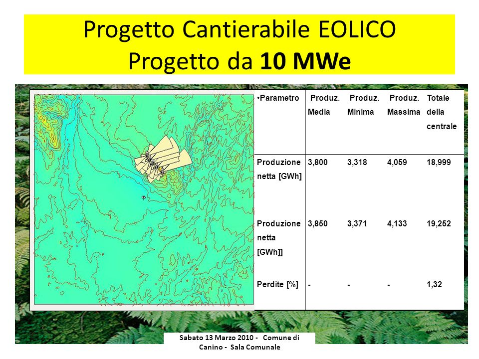 Progetto Cantierabile EOLICO Progetto da 10 MWe