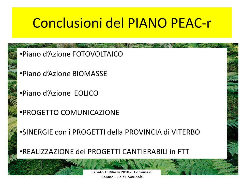 Conclusioni del PIANO PEAC-r