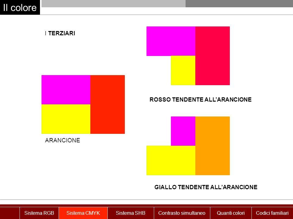 Il colore I TERZIARI ROSSO TENDENTE ALL'ARANCIONE ARANCIONE
