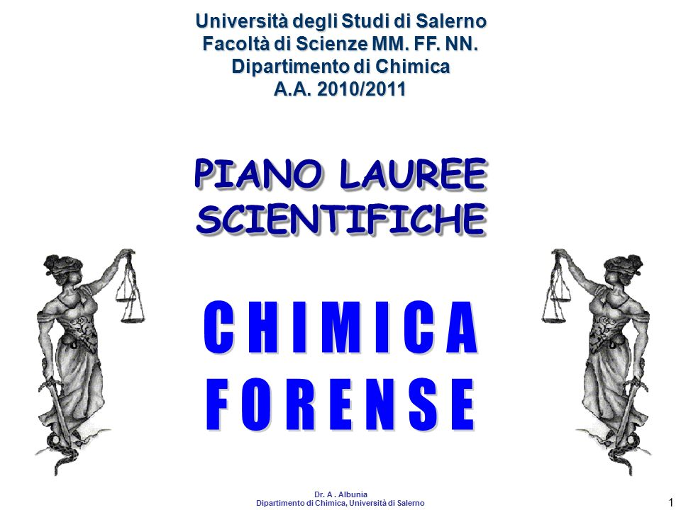 CHIMICA FORENSE PIANO LAUREE SCIENTIFICHE
