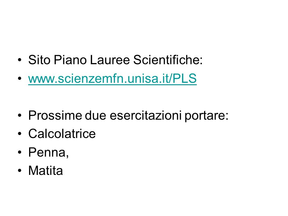 Sito Piano Lauree Scientifiche: