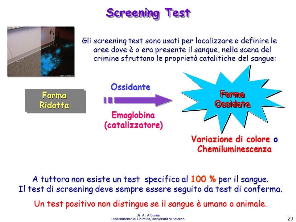 Screening Test Ossidante Forma Ossidata Forma Ridotta