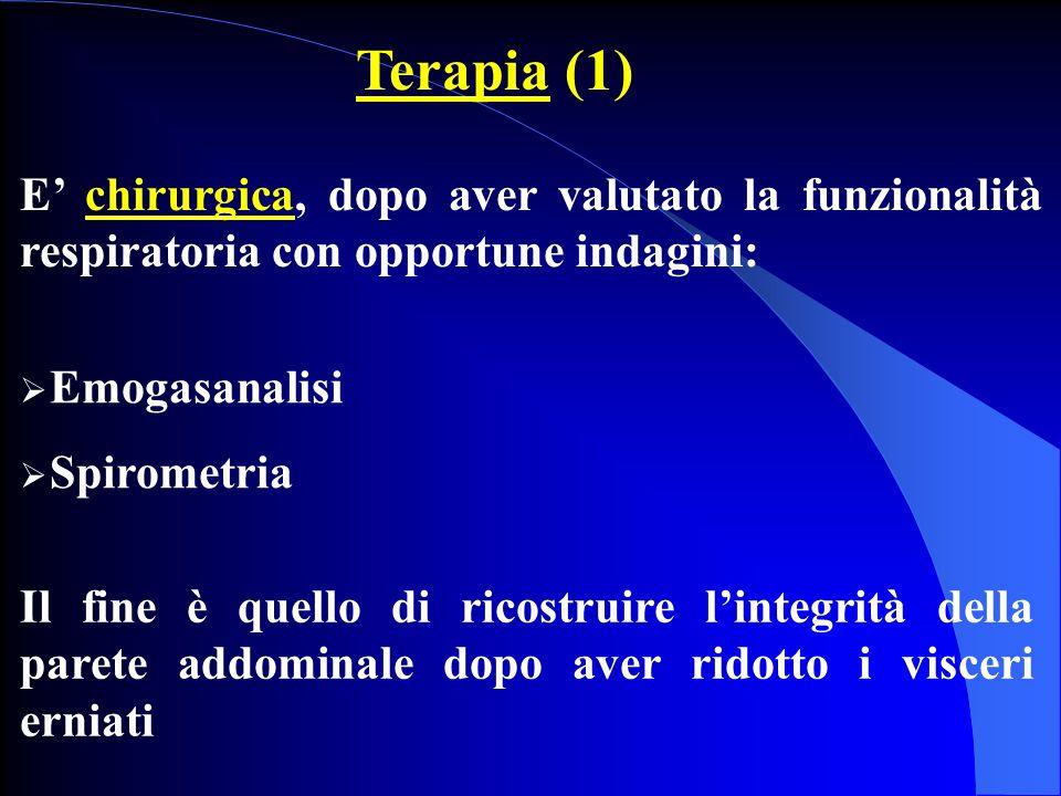 Terapia (1) E' chirurgica, dopo aver valutato la funzionalità respiratoria con opportune indagini: Emogasanalisi.