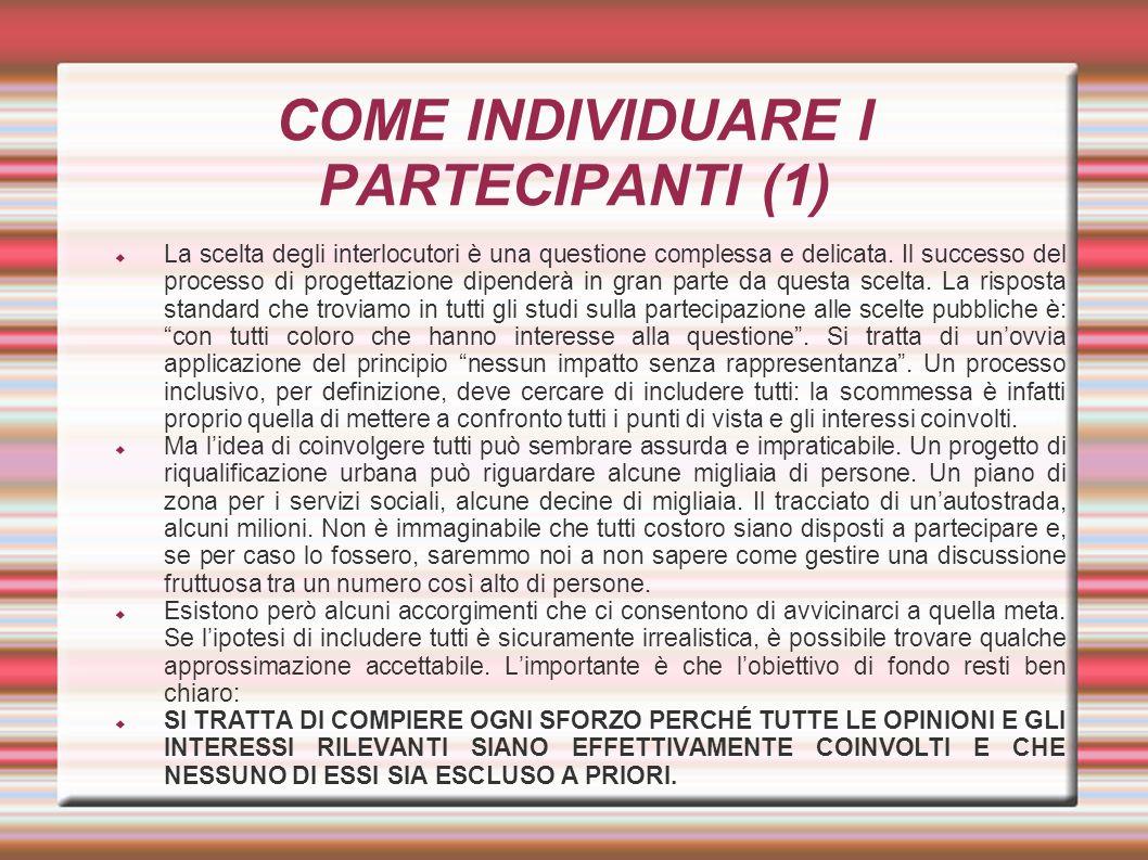 COME INDIVIDUARE I PARTECIPANTI (1)