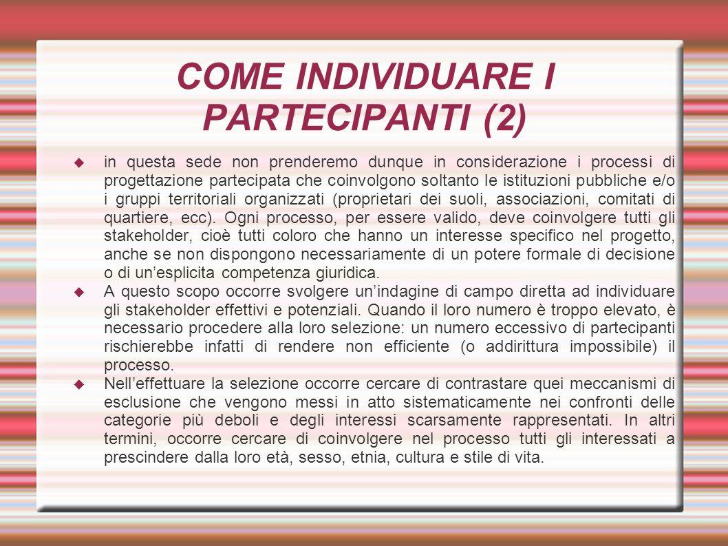 COME INDIVIDUARE I PARTECIPANTI (2)