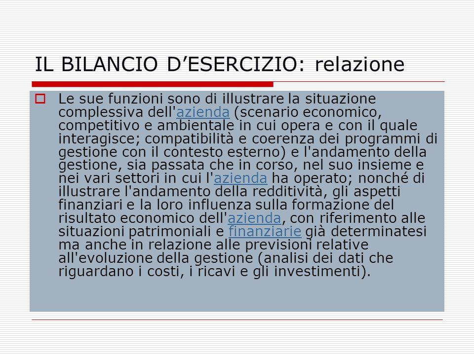 IL BILANCIO D'ESERCIZIO: relazione