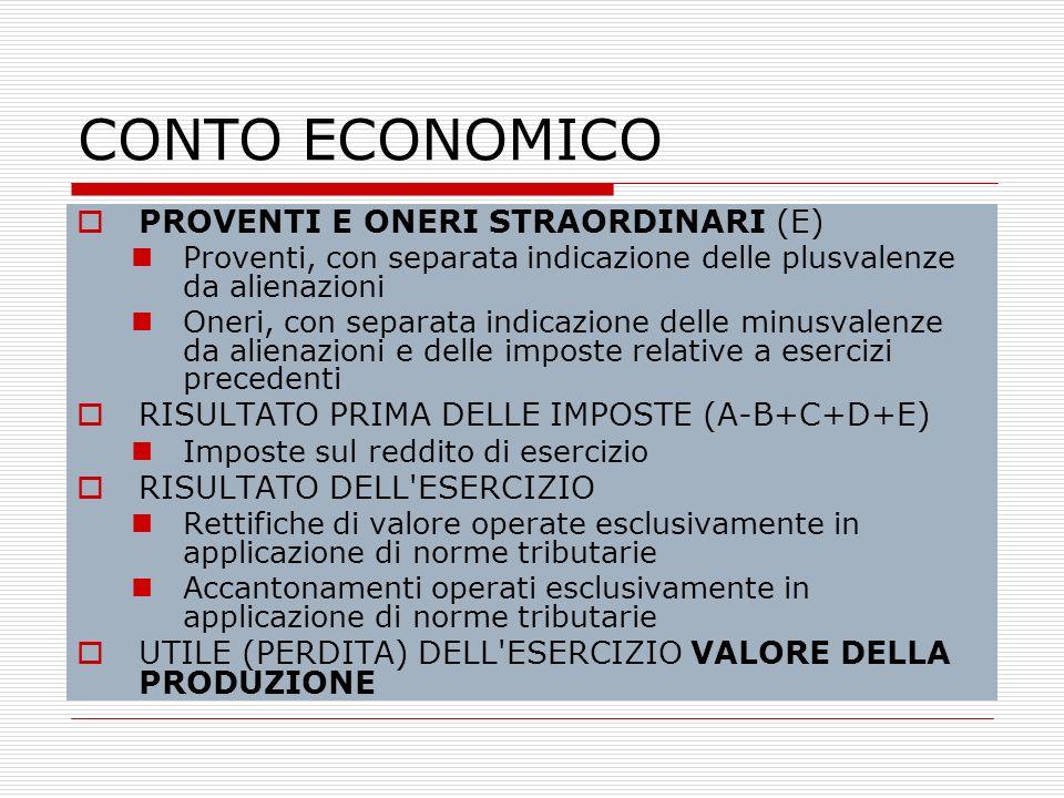 CONTO ECONOMICO PROVENTI E ONERI STRAORDINARI (E)