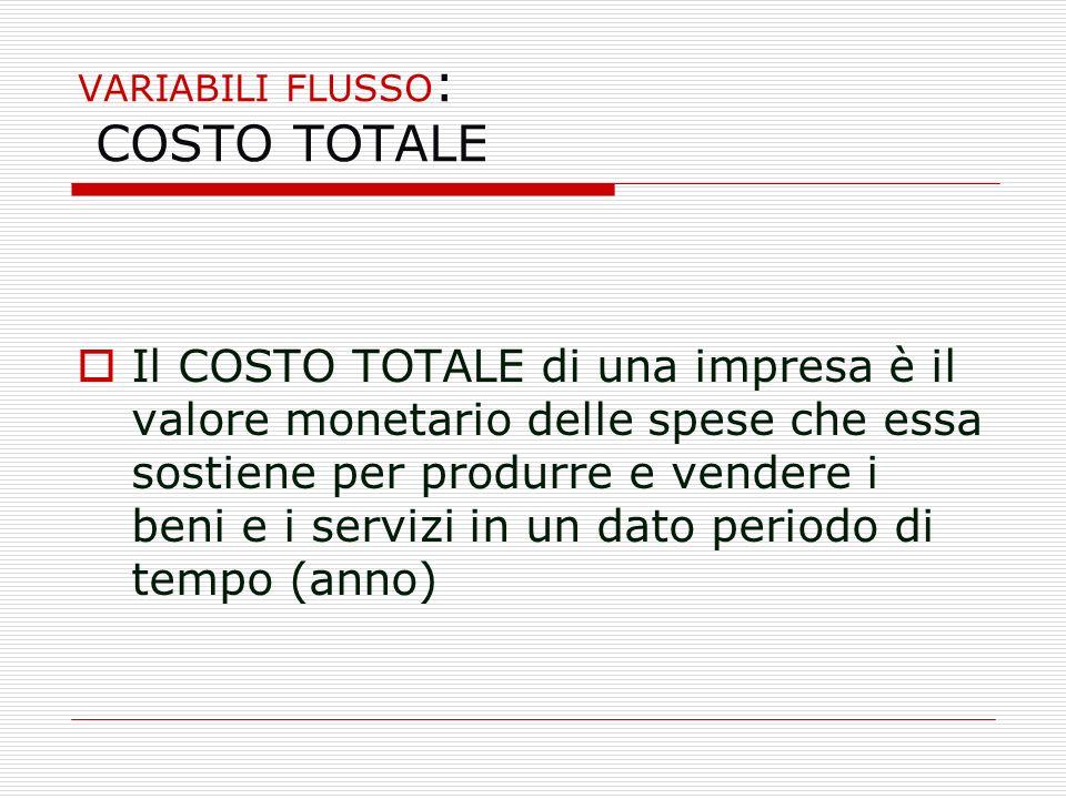 VARIABILI FLUSSO: COSTO TOTALE