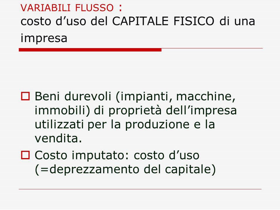 VARIABILI FLUSSO : costo d'uso del CAPITALE FISICO di una impresa