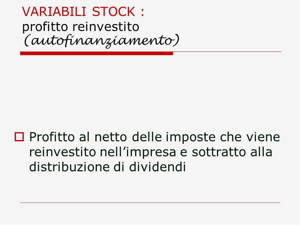 VARIABILI STOCK : profitto reinvestito (autofinanziamento)