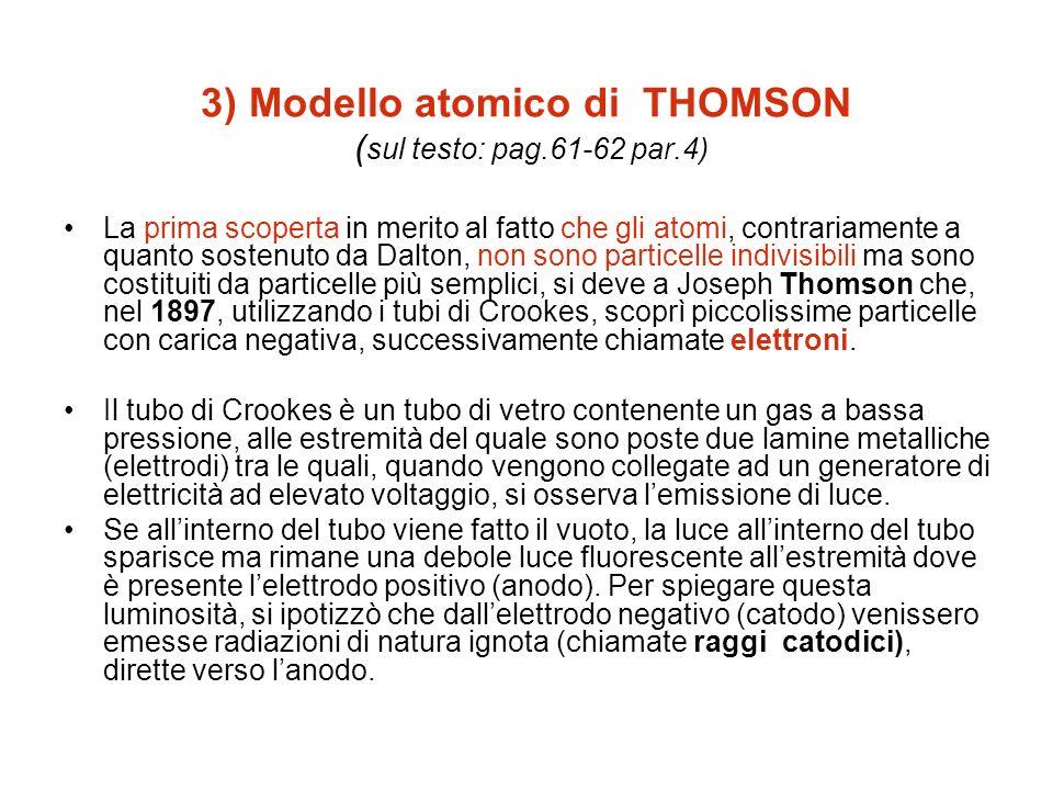 3) Modello atomico di THOMSON (sul testo: pag.61-62 par.4)