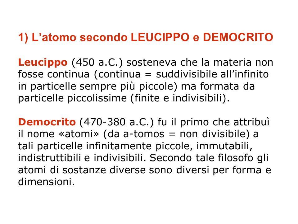 1) L'atomo secondo LEUCIPPO e DEMOCRITO Leucippo (450 a. C