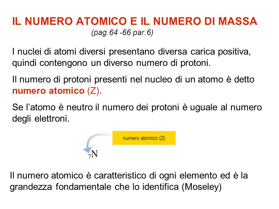 IL NUMERO ATOMICO E IL NUMERO DI MASSA (pag.64 -66 par.6)